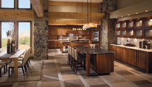 Kraftmaid Kitchen Cabinets -  Square Raised Panel - Solid (PVM) Maple in Praline w/Mocha Highlight