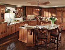 Kraftmaid Kitchen Cabinets -  Arch Raised Panel - Solid (PWM) Maple in Biscotti w/Cocoa Glaze
