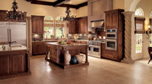 Kraftmaid Kitchen Cabinets -  Square Raised Panel - Solid (WLO) Oak in Toffee