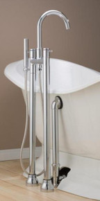 Cheviot  7565-PN Contemporary Free Standing Tub Filler Faucet With Hand Shower & Water Supplies  - Polished Nickel