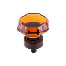 "Top Knobs  TK138ORB Crystal Wine Octagon Crystal Knob 1 3/8"" w/ Oil Rubbed Bronze Base"