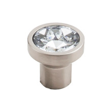 "Top Door Knobs  TK735BSN Barrington Wentworth Crystal Round Door Knob 13/16"" - Brushed Satin Nickel Base"