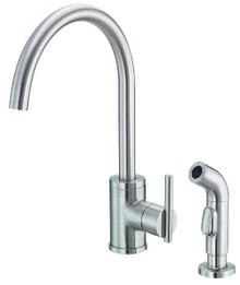 Danze D401058SS Parma Single Handle High-Rise Kitchen Faucet with Side Spray 1.75gpm & 2.2gpm - Stainless Steel