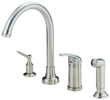 Danze D409112SS Melrose Single Handle High Rise Kitchen Faucet with Spray - Stainless Steel