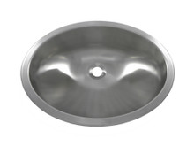 "Opella 17186 Round Lavatory Sink 19"" x 15"" Undermount or Top Mount - Brushed Stainless"