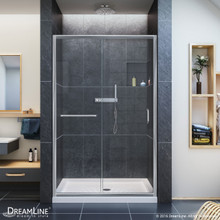 DreamLine  SHDR-0948720-01 Infinity-Z 44 to 48 in. Frameless Sliding Shower Door, Clear 1/4 in. Glass Door, Chrome Finish