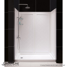 DreamLine  DL-6189L-01 SlimLine 30 in. by 60 in. Single Threshold Shower Base Left Hand Drain and QWALL-5 Shower Backwall Kit