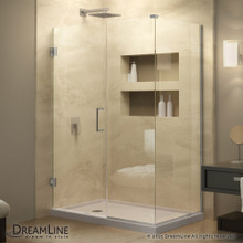 DreamLine  SHEN-24555300-01 Unidoor Plus 55-1/2 in. W x 30-3/8 in. D x 72 in. H Hinged Shower Enclosure, Chrome Finish Hardware