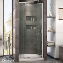 DreamLine  DL-6215C-01CL Flex 32-in. W x 32-in. D x 74-3/4-in. H Frameless Shower Door and Base Kit, Chrome Finish Hardware