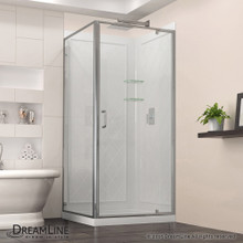 DreamLine  DL-6717-01CL Flex 36-in. W x 36-in. D x 76-3/4-in. H Frameless Shower Enclosure, Backwall and Base Kit, Chrome Finish Hardware