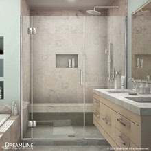DreamLine  D12730572-01 Unidoor-X 63 1/2 - 64 in. W x 72 in. H Hinged Shower Door in Chrome Finish
