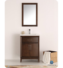 "Fresca  FVN2124AC Cambridge 24"" Antique Coffee Traditional Bathroom Vanity w/ Mirror"