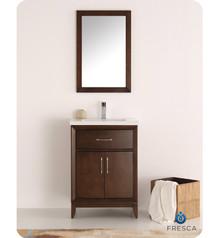 """Fresca  FVN2124AC Cambridge 24"""" Antique Coffee Traditional Bathroom Vanity w/ Mirror"""