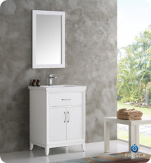 "Fresca  FVN2124WH Cambridge 24"" White Traditional Bathroom Vanity w/ Mirror"