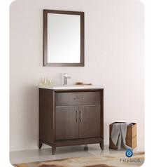 """Fresca  FVN2130AC Cambridge 30"""" Antique Coffee Traditional Bathroom Vanity w/ Mirror"""