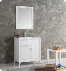 "Fresca  FVN2130WH Cambridge 30"" White Traditional Bathroom Vanity w/ Mirror"