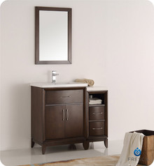 "Fresca  FVN21-2412AC Cambridge 36"" Antique Coffee Traditional Bathroom Vanity w/ Mirror"
