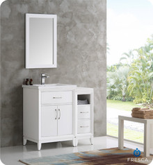 "Fresca  FVN21-2412WH Cambridge 36"" White Traditional Bathroom Vanity w/ Mirror"
