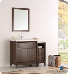 """Fresca  FVN21-3012AC Cambridge 42"""" Antique Coffee Traditional Bathroom Vanity w/ Mirror"""