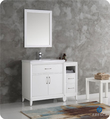 "Fresca  FVN21-3012WH Cambridge 42"" White Traditional Bathroom Vanity w/ Mirror"