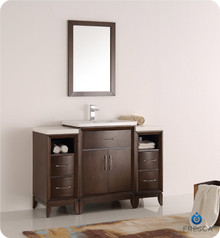 "Fresca  FVN21-122412AC Cambridge 48"" Antique Coffee Traditional Bathroom Vanity w/ Mirror"