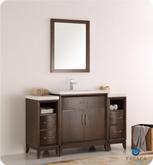 "Fresca  FVN21-123012AC Cambridge 54"" Antique Coffee Traditional Bathroom Vanity w/ Mirror"