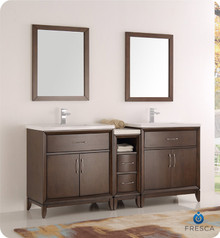 "Fresca  FVN21-301230AC Cambridge 72"" Antique Coffee Double Sink Traditional Bathroom Vanity w/ Mirrors"