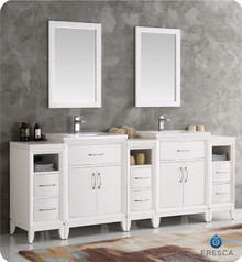"Fresca  FVN21-84WH Cambridge 84"" White Double Sink Traditional Bathroom Vanity w/ Mirrors"