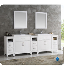 "Fresca  FVN21-96WH Cambridge 96"" White Double Sink Traditional Bathroom Vanity w/ Mirrors"