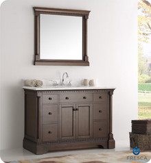 "Fresca  FVN2248AC Kingston 48"" Antique Coffee Traditional Bathroom Vanity w/ Mirror"