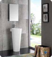 "Fresca  FVN5022WH Messina 16"" White Pedestal Sink w Medicine Cabinet - Modern Bathroom Vanity"