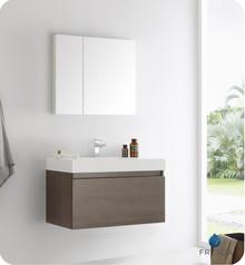 "Fresca  FVN8008GO Mezzo 36"" Gray Oak Wall Hung Modern Bathroom Vanity w/ Medicine Cabinet"