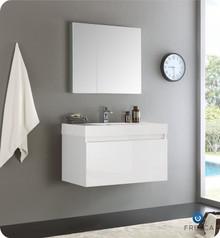 "Fresca  FVN8008WH Mezzo 36"" White Wall Hung Modern Bathroom Vanity w/ Medicine Cabinet"