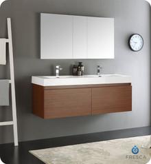 "Fresca  FVN8042TK Mezzo 60"" Teak Wall Hung Double Sink Modern Bathroom Vanity w/ Medicine Cabinet"