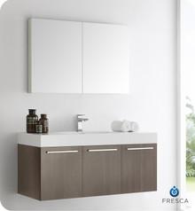 "Fresca  FVN8092GO Vista 48"" Gray Oak Wall Hung Modern Bathroom Vanity w/ Medicine Cabinet"