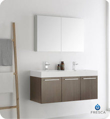 "Fresca  FVN8092GO-D Vista 48"" Gray Oak Wall Hung Double Sink Modern Bathroom Vanity w/ Medicine Cabinet"