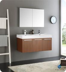 "Fresca  FVN8092TK-D Vista 48"" Teak Wall Hung Double Sink Modern Bathroom Vanity w/ Medicine Cabinet"