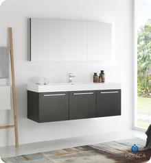 """Fresca  FVN8093BW Vista 60"""" Black Wall Hung Single Sink Modern Bathroom Vanity w/ Medicine Cabinet"""