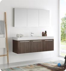 """Fresca  FVN8093GW Vista 60"""" Walnut Wall Hung Single Sink Modern Bathroom Vanity w/ Medicine Cabinet"""
