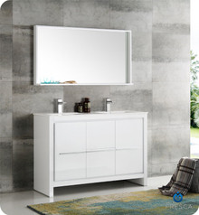 "Fresca  FVN8148WH-D Allier 48"" White Modern Double Sink Bathroom Vanity w/ Mirror"