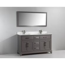 Vanity Art VA1060DG 60-Inch Double-Sink Bathroom Vanity Set With Phoenix Stone Vanity Top - Grey