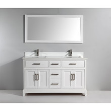 Vanity Art VA1060DW 60-Inch Double-Sink Bathroom Vanity Set With Phoenix Stone Vanity Top - White
