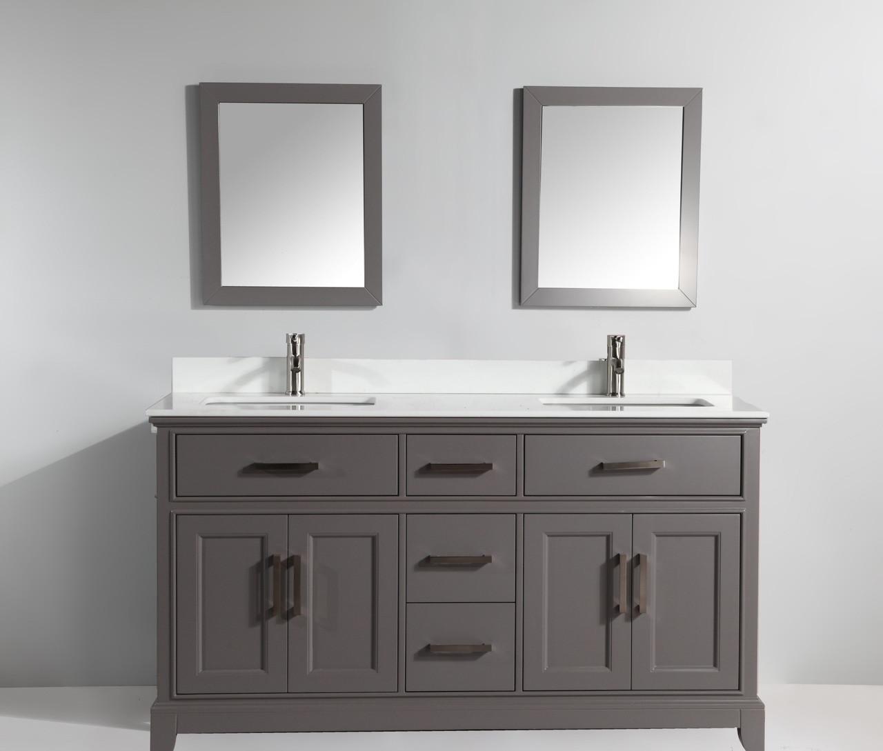 Vanity Art VA1072DG 72 Inch Double Sink Vanity Cabinet with Phoenix ...