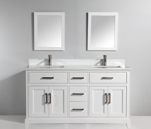 Vanity Art VA1072DW 72 Inch Double Sink Vanity Cabinet with Phoenix Stone Sink & Mirror - White