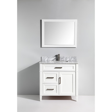 Vanity Art VA2036W 36 Inch Vanity Cabinet With Carrara Marble Sink U0026 Mirror    White