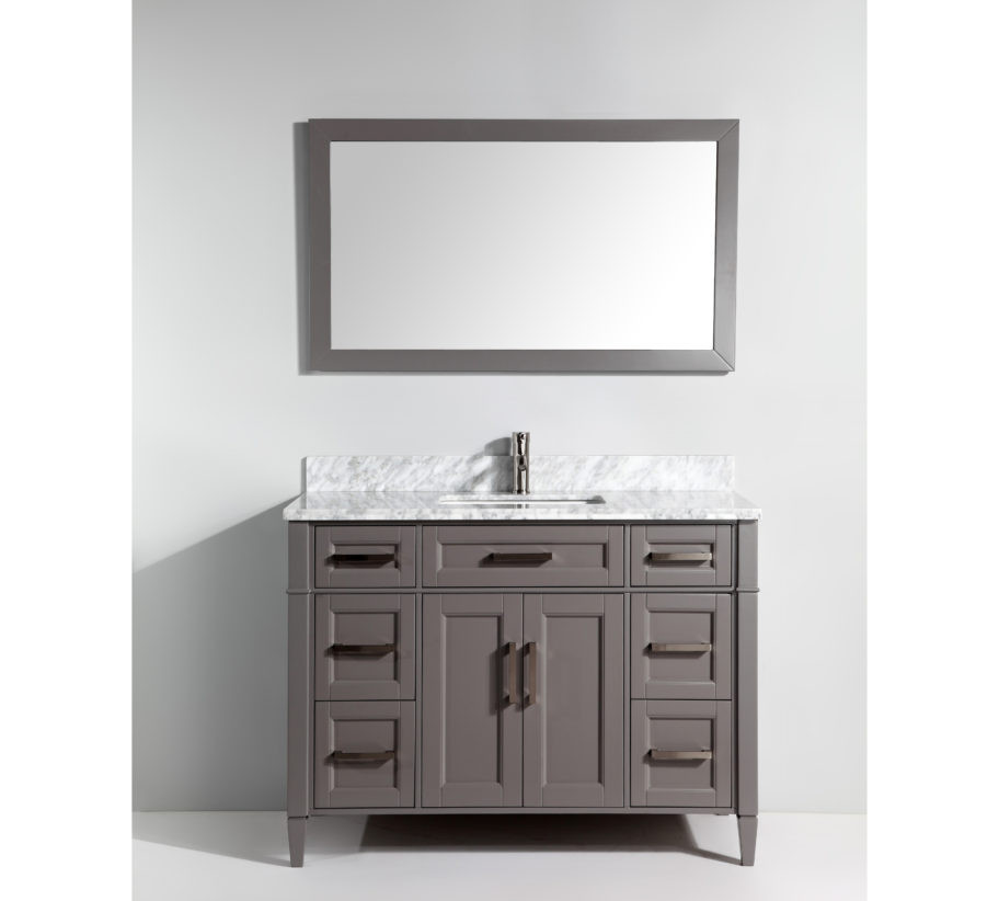 Vanity Art VA2048G 48 Inch Vanity Cabinet With Carrara Marble Sink U0026 Mirror    Grey