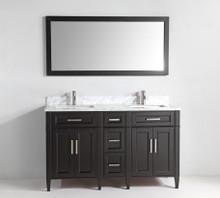 Vanity Art VA2060DE 60-Inch Double-Sink Bathroom Vanity Set With Carrara Marble Vanity Top - Espresso