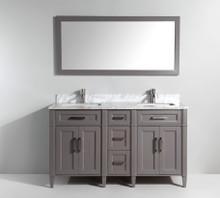 Vanity Art VA2060DG 60-Inch Double-Sink Bathroom Vanity Set With Carrara Marble Vanity Top - Grey