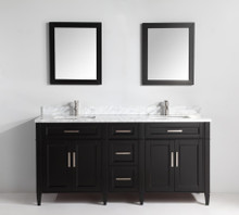 Vanity Art VA2072DE 72 Inch Double Sink Vanity Cabinet with Carrara Marjelwble Vanity Top - Espresso