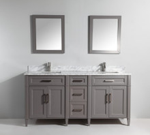 Vanity Art VA2072DG 72 Inch Double Sink Vanity Cabinet with Carrara Marjelwble Vanity Top - Grey